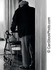 ηλικιωμένος ανήρ , χρήση , ένα , πεζοπόρος , (walking, frame)