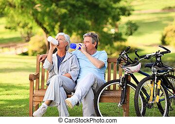 ηλικιωμένος ανδρόγυνο , με , δικό τουs , πλήθος ανθρώπων