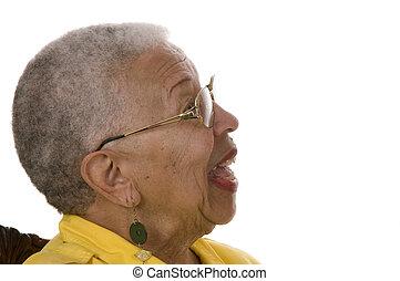 ηλικιωμένος , αφρικάνικος αμερικάνικος γυναίκα