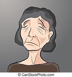 ηλικιωμένος , γελοιογραφία , γυναίκα , άθυμος