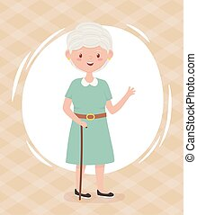 ηλικιωμένος , γιαγιά , πρόσωπο , άνθρωποι , γελοιογραφία , γριά , ώριμος , χαρακτήρας , γυναίκα