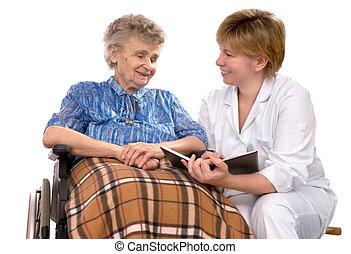 ηλικιωμένος γυναίκα , μέσα , αναπηρική καρέκλα