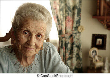 ηλικιωμένος γυναίκα , με , αστραφτερός άποψη