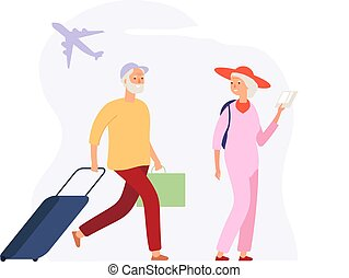 ηλικιωμένος , μικροβιοφορέας , πτήση , τουρισμός , βαλίτσα , αποσκευέs , ταξιδιώτες , άντραs , διακοπές , time., sea., terminal., οικοτροφία , γενική ιδέα , γυναίκα , αεροδρόμιο , αναμένω