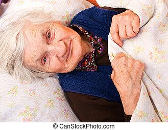 ηλικιωμένος , μοναχικός , γυναίκα , ακινησία , μέσα , ο , κρεβάτι