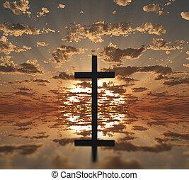 ηλιοβασίλεμα , ή , ανατολή , σταυρός