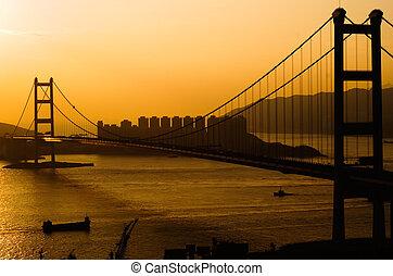 ηλιοβασίλεμα , από , tsing, πτυχίο μάστερ , γέφυρα , μέσα , χόνγκ-κόνγκ