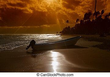 ηλιοβασίλεμα , βάρκα