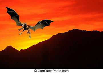 ηλιοβασίλεμα , δράκος