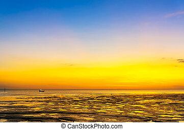 ηλιοβασίλεμα , θολός , παραλία