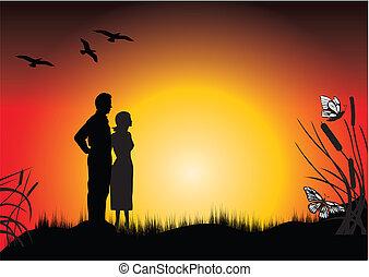 ηλιοβασίλεμα , και , ένα , ζευγάρι
