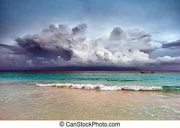ηλιοβασίλεμα , καραϊβική θάλασσα , θυελλώδης