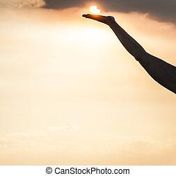 ηλιοβασίλεμα , κατά την διάρκεια , περίγραμμα , γυναίκα ανάμιξη