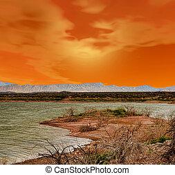 ηλιοβασίλεμα , λίμνη , κόκκινο