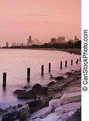 ηλιοβασίλεμα , μέσα , σικάγο