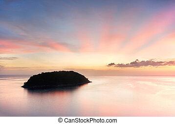 ηλιοβασίλεμα , νησί