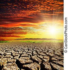 ηλιοβασίλεμα , ξηρασία , θαμπάδα , αριστερός γαία