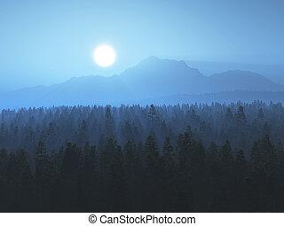 ηλιοβασίλεμα , ομιχλώδης , δέντρο , 3d , τοπίο
