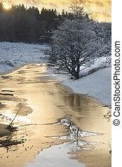ηλιοβασίλεμα , πάνω , χειμερινός ποταμός
