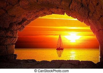 ηλιοβασίλεμα , περίγραμμα , βάρκα