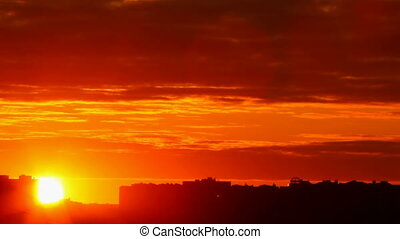 ηλιοβασίλεμα , πόλη , φόντο