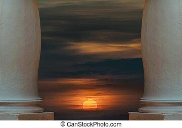 ηλιοβασίλεμα , σκηνή , θέση , γαλήνειος