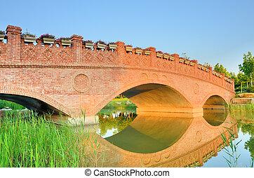 ηλιοβασίλεμα , τοπίο , με , τούβλο , αψίδα γέφυρα