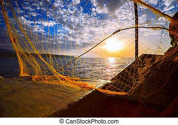 ηλιοβασίλεμα , χέρι , περίγραμμα , ελλάδα , αλιεύω , fisherman's , ρίψη , κρήτη , ψάρεμα