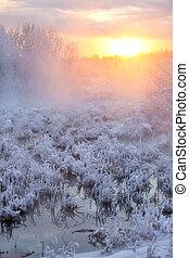 ηλιοβασίλεμα , χειμερινός γραφική εξοχική έκταση