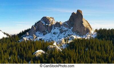ηλιοβασίλεμα , rocky βουνήσιος , εναέρια , χειμώναs , βλέπω