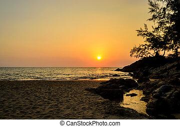 ηλιοβασίλεμα , thon , παραλία , σιάμ , phuket , nai, όμορφος
