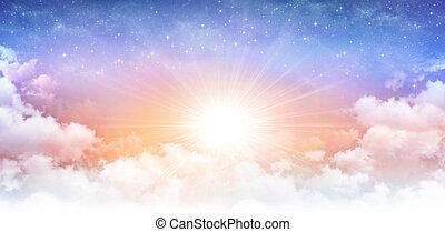 ηλιόλουστος , ουράνιος , ουρανόs