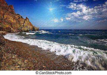 ημέρα , βραχώδης , ηλιόλουστος , ανεμίζω , παραλία