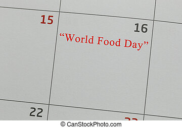 ημερολόγιο , επάνω , 16 , μέσα , κόσμοs , τροφή , day.