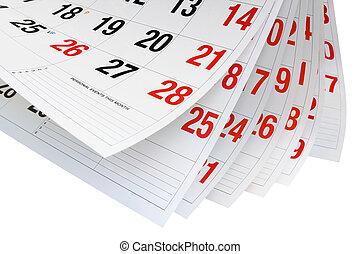 ημερολόγιο , σελίδες