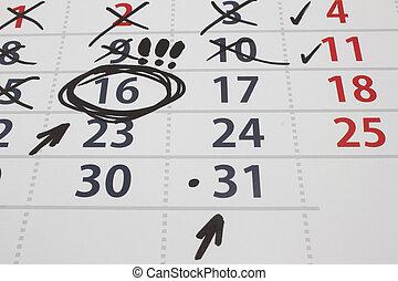 ημερομηνία , επάνω , ένα , ημερολόγιο