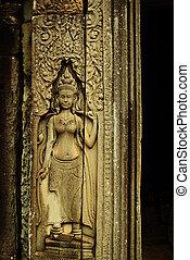 ημιανάγλυφο , αρχαίος , apsara, χορευτής , κρόταφος , angkor