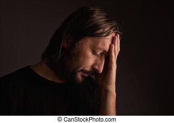 ημικρανία , γενειοφόρος , πονοκέφαλοs , ενήλικος , άντραs