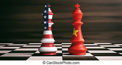η π α , concept., εικόνα , σημαίες , σκάκι , συμβολή , κίνα...