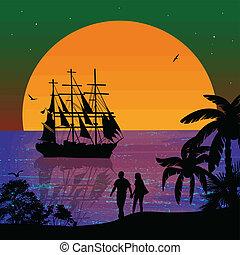 θάλασσα , ηλιοβασίλεμα , με , βάρκα , και , ζευγάρι , απεικονίζω σε σιλουέτα
