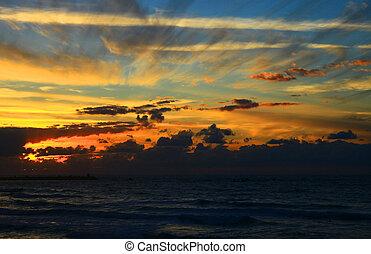 θάλασσα , μεσογειακός , israel., sunset.