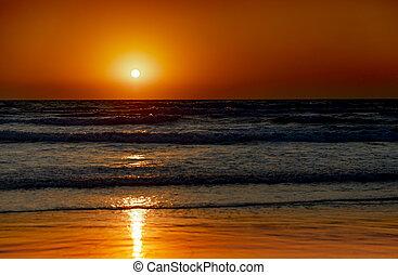 θάλασσα , sundown., θαλασσογραφία , όμορφος , ηλιοβασίλεμα , φόντο.