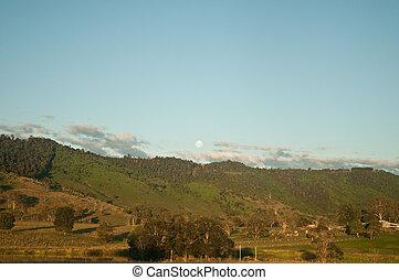 θέα , βράδυ , χέρσα μεσόγεια περιοχή , αυστραλία , ατάραχα , δάσοs