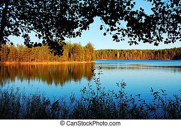 θέα , γραφικός , φινλανδία , λίμνη , φθινόπωρο