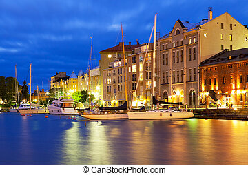 θέα , πόλη , γριά , χέλσινκι , φινλανδία , νύκτα