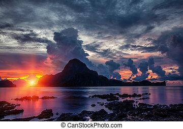 θέα , el , φιλιππίνες , nido, ζάλισμα , ηλιοβασίλεμα