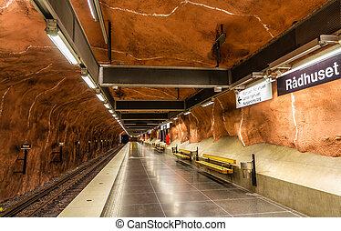 θέση , εσωτερικός , radhuset, στοκχόλμη , μετρό