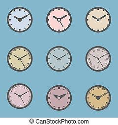 θέτω , έγχρωμος , ρολόι , - , απομονωμένος , εικόνα , μικροβιοφορέας , εικόνα