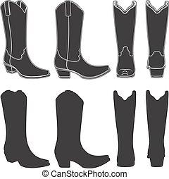 θέτω , αγελαδάρης , boots., απομονωμένος , μικροβιοφορέας , μαύρο , διευκρίνιση , άσπρο , objects.