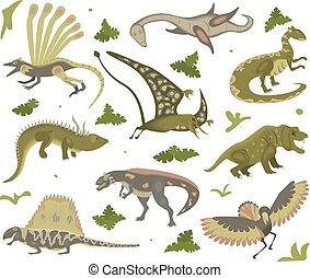 θέτω , από , γελοιογραφία , δεινόσαυροι